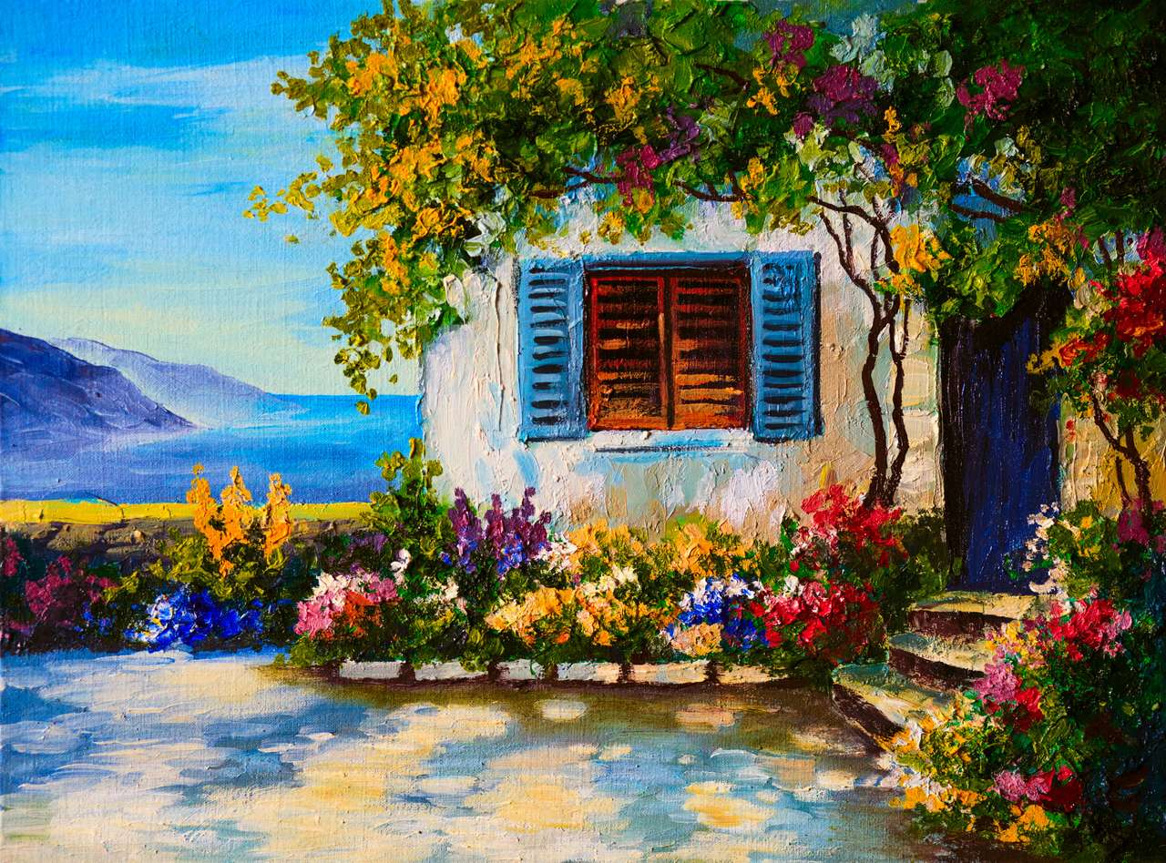 Oil painting on canvas of a beautiful houses near the sea, abstract drawing online puzzle