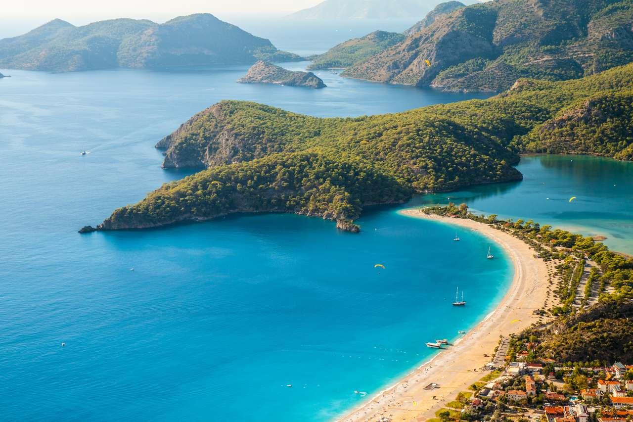 Oludeniz Lagoon i havet Landskap Utsikt över stranden, Turkiet