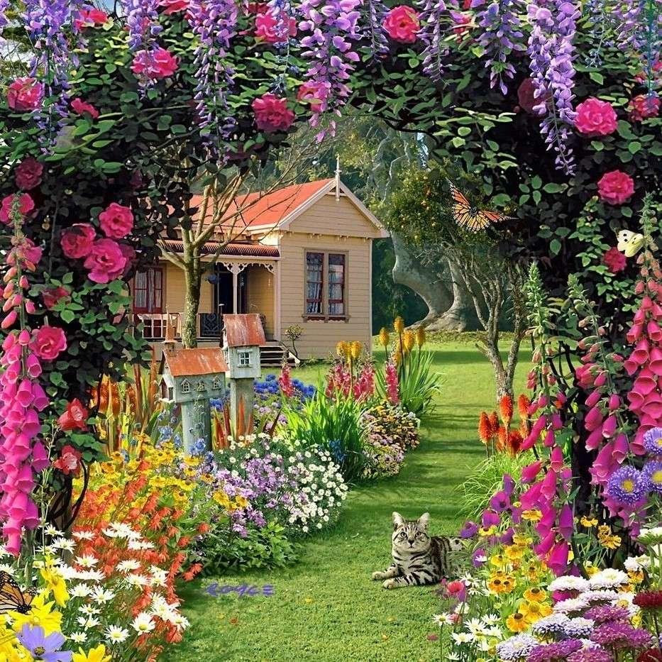 Kvetoucí zahrada s domem