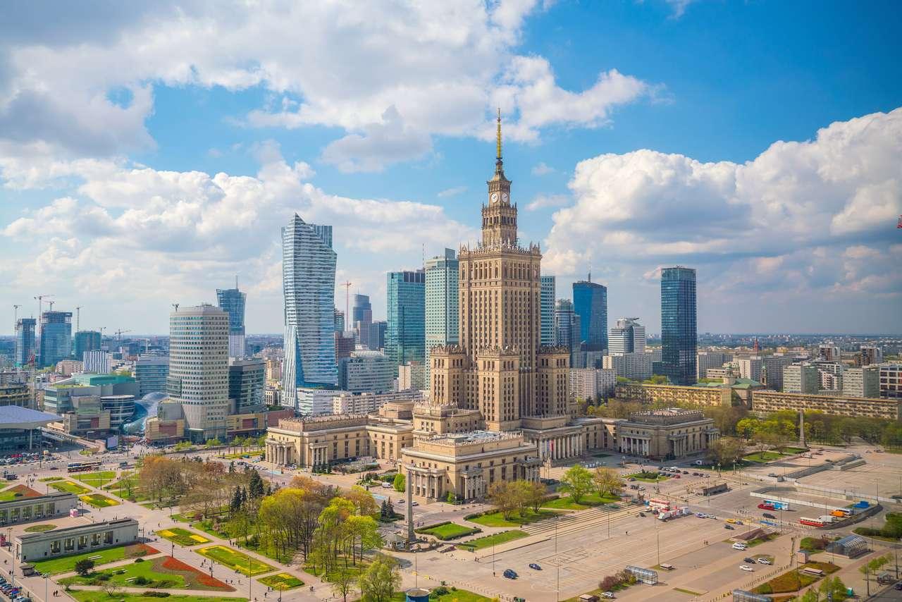 Fotografie aeriană a orizontului orașului Varșovia în Polonia la apus puzzle
