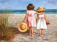 Kleine meisjes op het strand