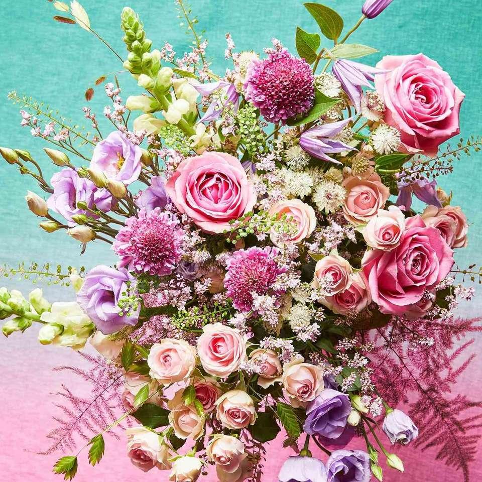 kytice růžových květů puzzle