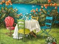 Landschaft für romantisches Abendessen