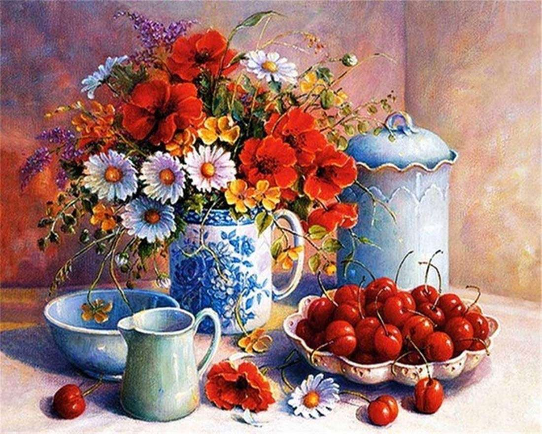flowers and cherries jigsaw puzzle