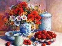 květiny a třešně