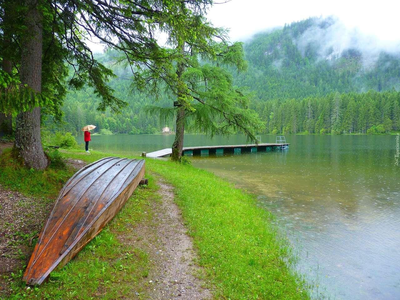 Deštivý den u jezera