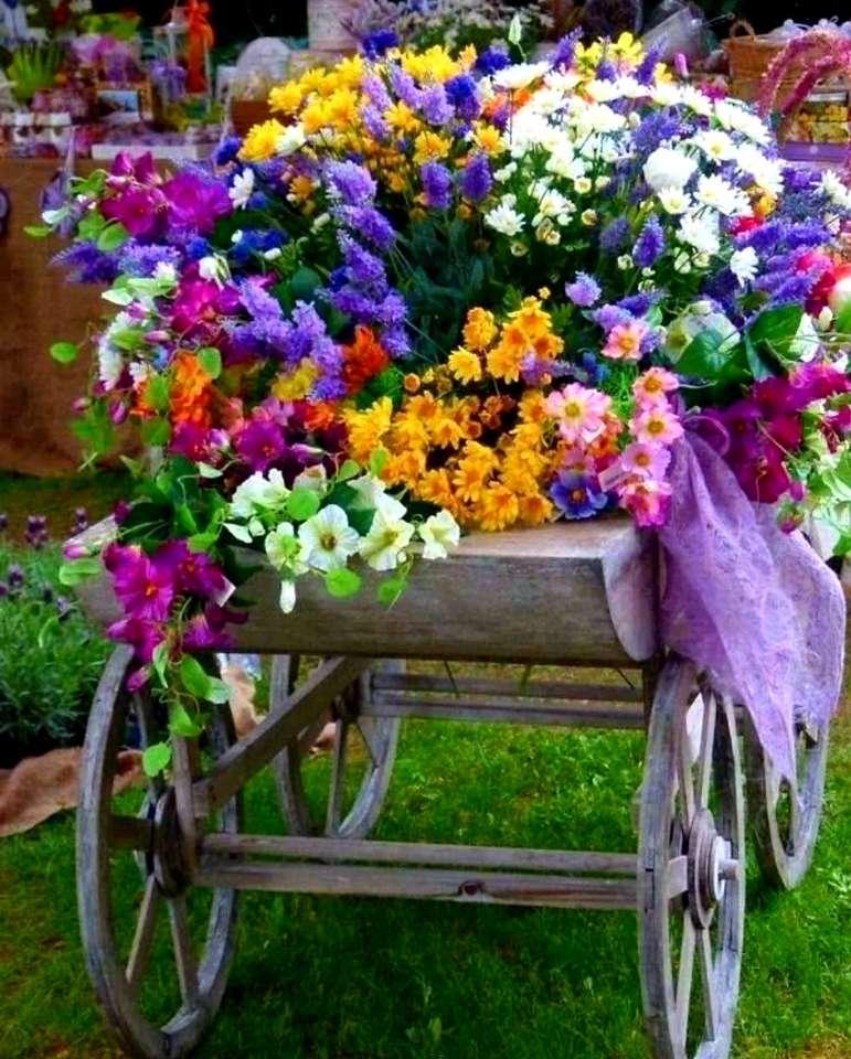 количка с цветя пъзел