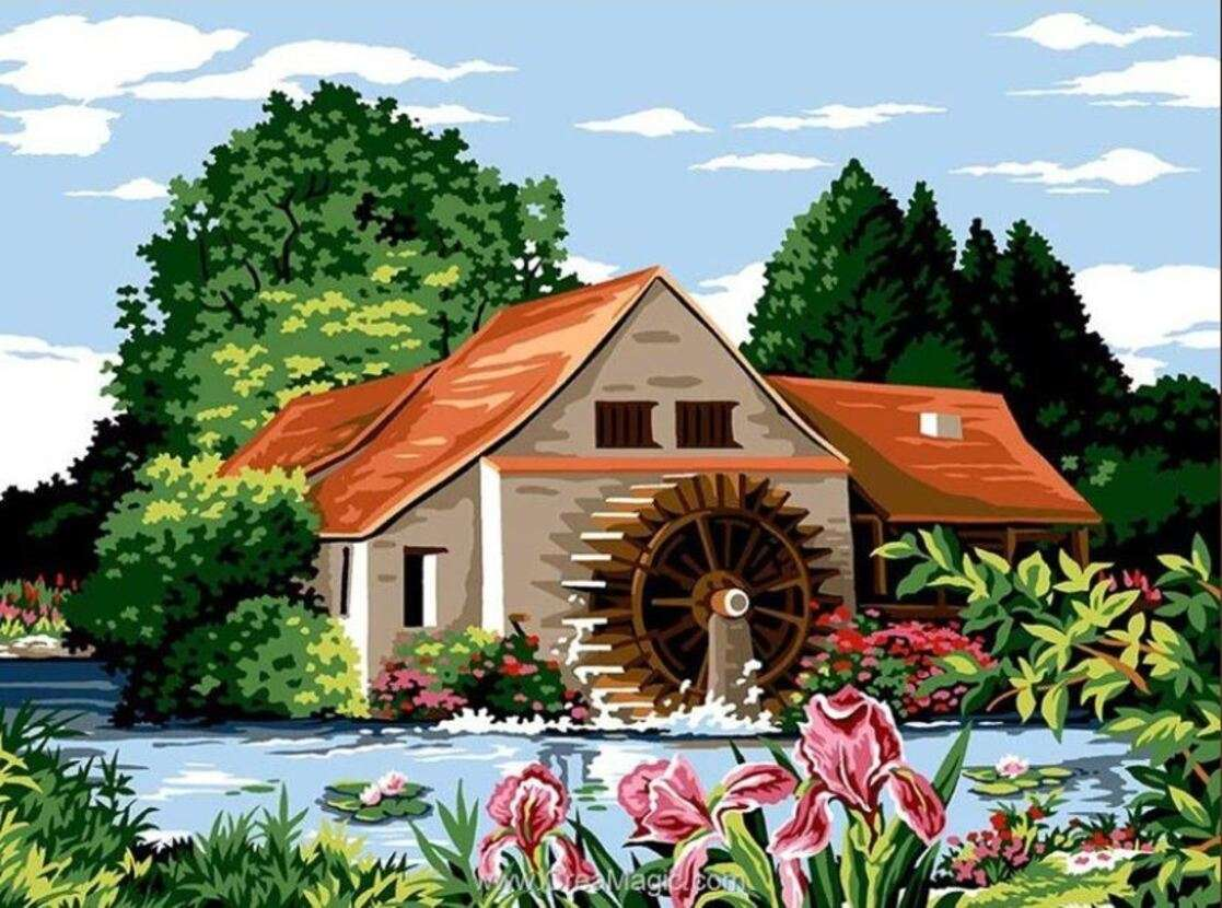 Nice mill and its wheel online puzzle