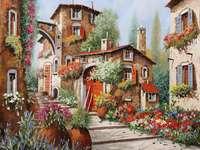 Häuser und Blumen Puzzle