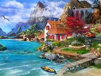 Hus vid kusten i bergen pussel