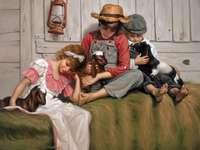 děti a malá kozí rodinka puzzle