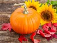 Kürbis mit Sonnenblumen und roten Herbstblättern Online-Puzzle